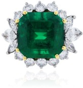 Platinum 18K Yellow Gold Emerald Diamond Ring