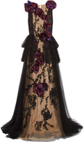 Marchesa Organza-appliquéd Embellished Tulle Gown - Black