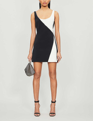 David Koma Contrast-panel crepe mini dress