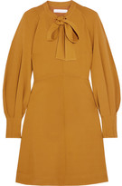 See by Chloe Pussy-bow Stretch-crepe Dress - Mustard