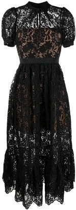 Self-Portrait Lace-Panelled Midi Dress