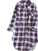 Generic Amoy-Baby Women's Button Down 100% Cotton Nightgown Plaid Casual Night Robe SY113-Lightblue-L
