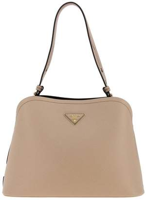 Prada Shoulder Bag In Textured Leather With Triangular Logo And Shoulder Strap