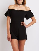 Charlotte Russe Fitted Off-The-Shoulder Romper