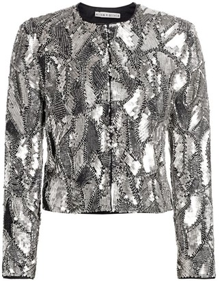 Alice + Olivia Kidman Embellished Sequin Jacket
