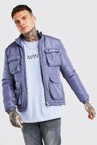 boohoo Mens Grey 4 Pocket Padded Funnel Neck Jacket, Grey