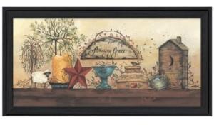 "Trendy Décor 4U Amazing Grace Shelf By Gail Eads, Printed Wall Art, Ready to hang, Black Frame, 37"" x 19"""