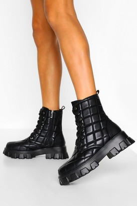boohoo Quilted Chunky Cleated Platform Hiker Boots