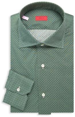 Isaia Floral Grid Dress Shirt