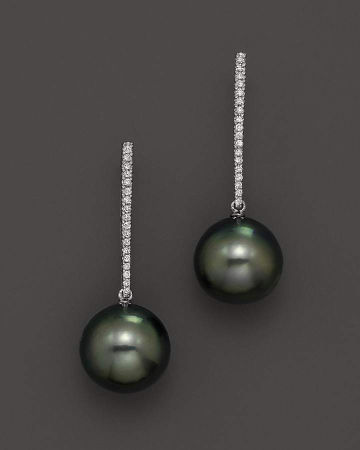 Bloomingdale's Cultured Tahitian Pearl and Diamond Earrings in 14K White Gold, 12mm