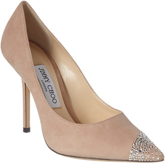 Jimmy Choo Love 100 Asymmetrical Sprinkled Crystal Suede Pump