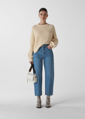 Mid Wash Denim Barrel Leg Jean