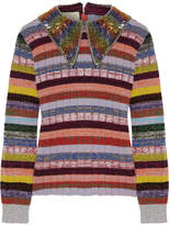 Gucci Embellished Striped Wool-blend Sweater - Lilac