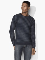 John Varvatos Striped Crewneck