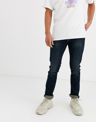 ONLY & SONS slim fit super stretch jeans in dark wash blue