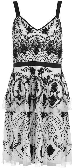 Adrianna Papell Tier Beaded Dress