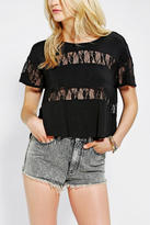 Urban Outfitters Colorfast Lace-Stripe Tee