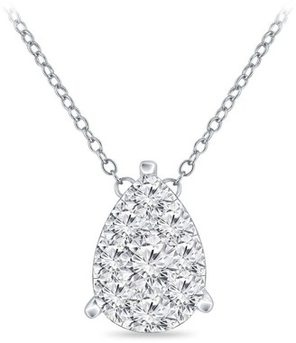 14k Gold 1/10ct TDW Pear Shaped Pave Diamond Necklace by Auriya