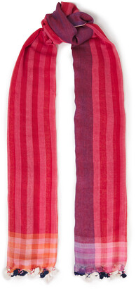 Paul Smith Tasseled Striped Cotton Scarf