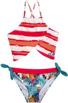 Big Chill Coral Stripe Asymmetrical Bikini - Girls