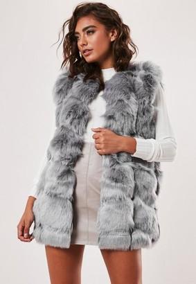 Missguided Grey Faux Fur Bubble Gilet