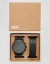 Asos Interchangeable Bracelet Watch In Black