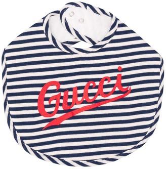 Gucci Kids Striped Logo-Print Bib