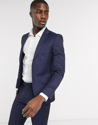 Moss Bros suit jacket with stretch in navy