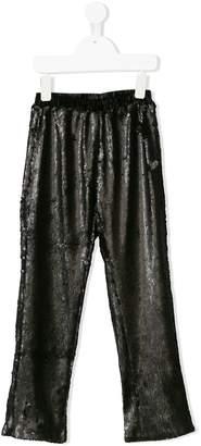 Le Mu elasticated waistband sequinned trousers