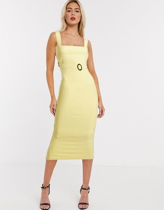Vesper belted midaxi dress in yellow