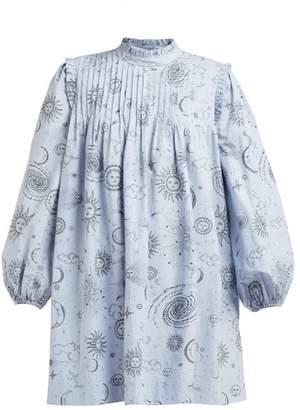 Ganni Over The Moon-print Poplin Mini Dress - Womens - Blue