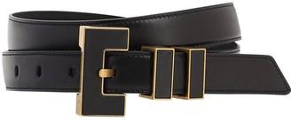 Saint Laurent 25mm Leather Belt W/metal Buckle