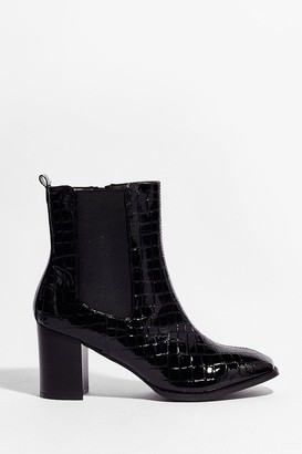 Nasty Gal Womens Just Try and Croc Us Heeled Ankle Boots - Black