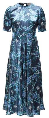 Altuzarra Adeline Floral Silk-blend Charmeuse Midi Dress - Womens - Blue Print