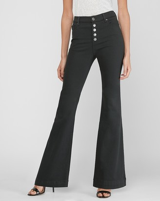 Express High Waisted Supersoft Button Fly Bell Flare Pant