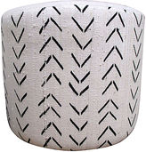 One Kings Lane Vintage African Tribal & French Linen Ottoman