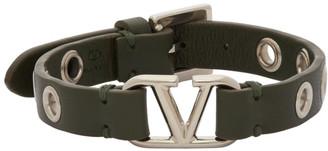 Valentino Khaki Garavani Calfskin VLogo Eyelet Bracelet