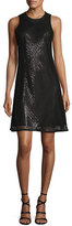 Carmen Marc Valvo Sleeveless Sequined Mesh A-Line Cocktail Dress, Black