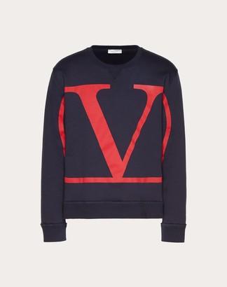 Valentino Crew-neck Sweatshirt With Vlogo Print Man Navy/ Red Cotton 94%, Polyamide 6% S