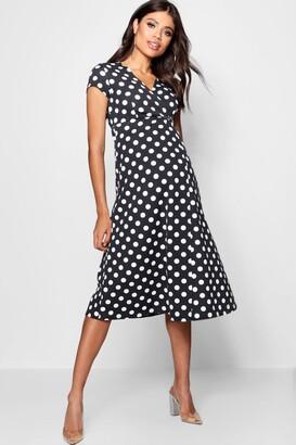 boohoo Maternity Polka Dot Wrap Dress