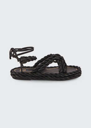 Valentino The Rope Crisscross Flat Ankle-Wrap Sandals