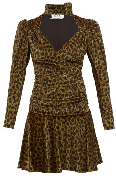 ATTICO The Leopard Print Velvet Mini Dress - Womens - Leopard