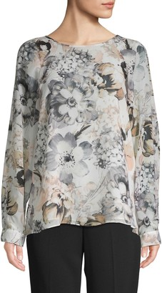 Calvin Klein Collection Floral Raglan-Sleeve Blouse
