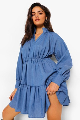 boohoo High Neck Plunge Tiered Chambray Dress
