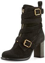 Chloé Front-Zip Ankle-Wrap Bootie, Black