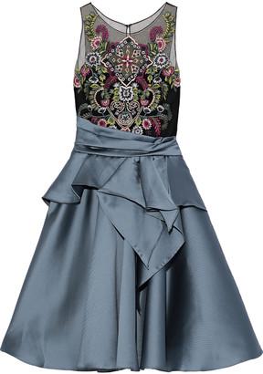 Marchesa Embellished Tulle-paneled Pleated Duchesse-satin Dress