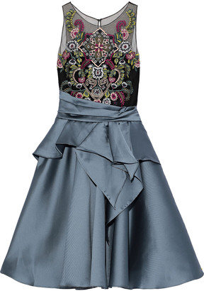Marchesa Flared Embellished Tulle And Duchesse-satin Dress