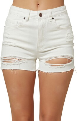 O'Neill Angus Ripped High Waist Denim Shorts