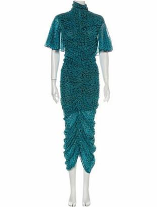 Diane von Furstenberg Floral Print Midi Length Dress Blue