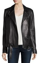 Theory Tralsmin Wilmore Leather Biker Jacket, Black
